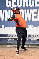 Bowing Green Hot Rods pitcher Jose Alvarado (45) throws a bullpen before a game against the Burlington Bees on May 7, 2016 at Community Field in Burlington, Iowa.  Bowling Green defeated Burlington 11-1.  (Mike Janes/Four Seam Images)