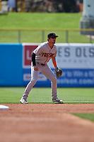 Josh Rojas (6) of the Fresno Grizzlies on defense against the Salt Lake Bees at Smith's Ballpark on September 4, 2017 in Salt Lake City, Utah. Fresno defeated Salt Lake 9-7. (Stephen Smith/Four Seam Images)