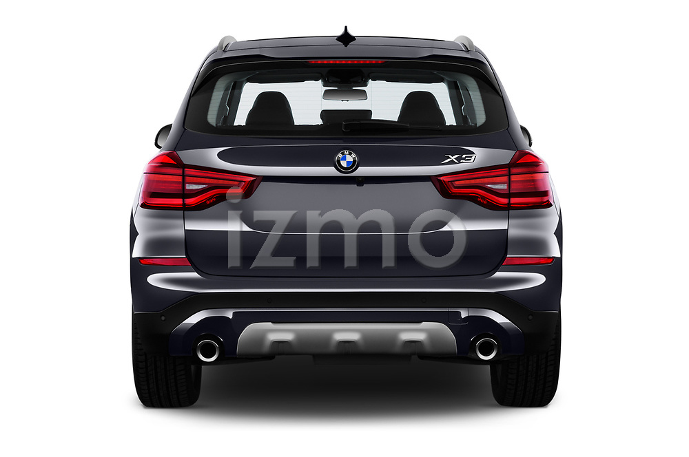 Straight rear view of 2018 BMW X3 xLine-4wd 5 Door SUV Rear View  stock images