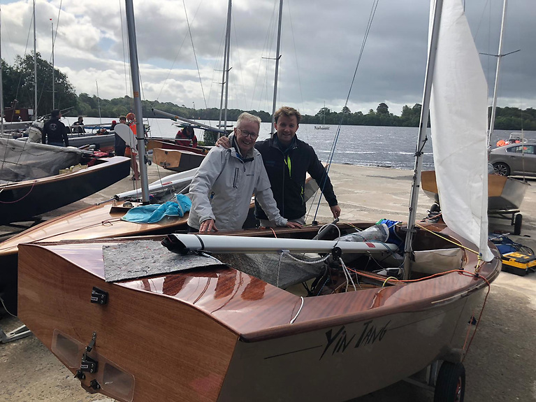 Hugh and Dan Gill's new GP14 YIN Tang is prepared for Race of the National Championships at Lough Erne