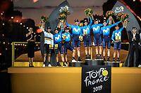 Team movistar on podium as best ranked team in the Tour de France 2019<br /> <br /> <br /> Stage 21: Rambouillet to Paris (128km)<br /> 106th Tour de France 2019 (2.UWT)<br /> <br /> ©kramon