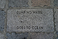 "This """"Dump no Waste"""" insignia is on display next to sewer drainage systems along Honolulu's city streets. A notice to the public to protect our oceans."