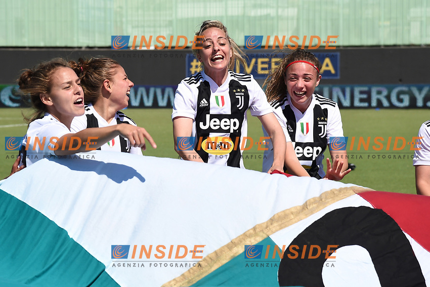 Juventus players .  Celebration at the end of the match . <br /> Verona 20-4-2019 Stadio AGSM Olivieri <br /> Football Women Serie A Hellas Verona - Juventus <br /> Juventus win italian championship <br /> Photo Daniele Buffa / Image Sport / Insidefoto