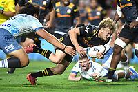 27th March 2021; Hamilton, New Zealand;  Damian McKenzie scores the winning try. Chiefs versus Blues, Super Rugby  AOTEAROA, FMG Waikato Stadium, Hamilton, New Zealand.