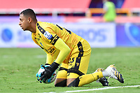 CALI - COLOMBIA, 04-04-2021: Sergio Román, arquero de Equidad en acción durante partido por la fecha 17 como parte de la Liga BetPlay DIMAYOR 2021 entre América de Cali y La Equidad jugado en el estadio Pascual Guerrero de la ciudad de Cali. / Sergio Roman, goalkeeper of Equidad in action during match for the date 17 as part of BetPlay DIMAYOR League 2021 between America de Cali and La Equidad played at Pascual Guerrero stadium in Cali city. Photos: VizzorImage / Nelson Rios / Cont.