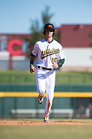 Mesa Solar Sox center fielder Skye Bolt (10), of the Oakland Athletics organization, jogs towards third base during an Arizona Fall League game against the Salt River Rafters at Sloan Park on November 9, 2018 in Mesa, Arizona. Mesa defeated Salt River 5-4. (Zachary Lucy/Four Seam Images)