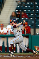 Max Rossiter #55 of the Arizona State Sun Devils bats against the USC Trojans at Dedeaux Field on April 12, 2013 in Los Angeles, California. USC defeated Arizona State, 5-0. (Larry Goren/Four Seam Images)