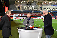 The VTM TV crew with Jan Mulder (L)   Mark Degryse (M) and Maarten Breckx (R) pictured during a female soccer game between the national teams of Belgium , called the Red Flames and Switzerland on the 8 th and last matchday in group H for the qualification for the Womens EURO 2022 in England , on Tuesday 1 th of December 2020  in Leuven , Belgium . PHOTO SPORTPIX.BE | SPP | DIRK VUYLSTEKE