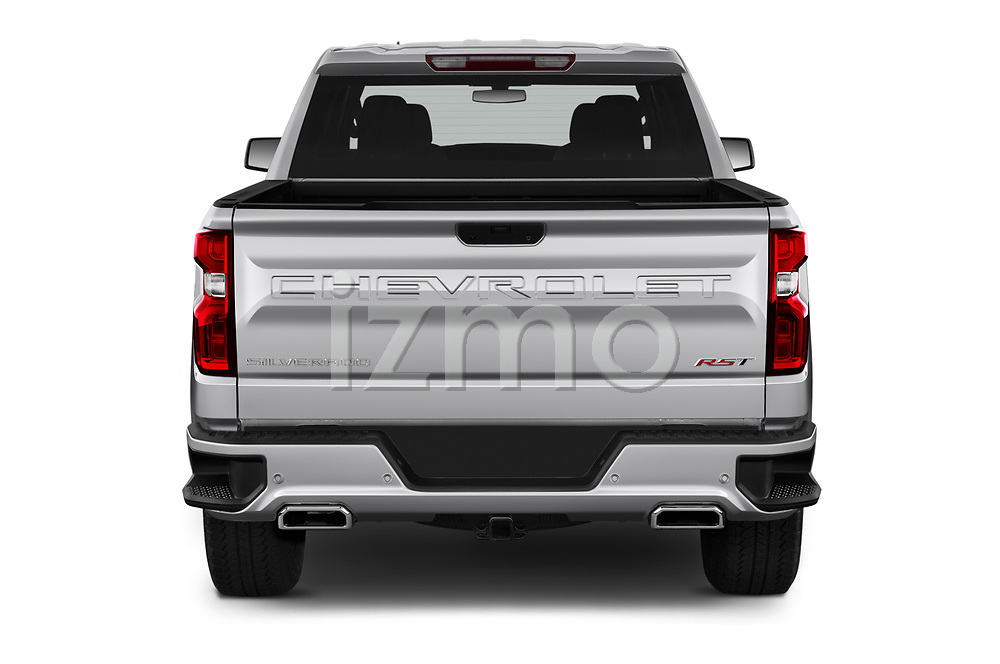 Straight rear view of 2019 Chevrolet Silverado-1500 RST 4 Door Pick-up Rear View  stock images