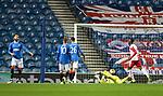 18.3.2021 Rangers v Slavia Prague: Allan McGregor beaten by Peter Olayinka