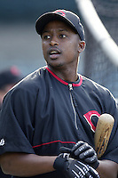 Wilton Guerrero of the Cincinnati Reds before a 2002 MLB season game against the Los Angeles Angels at Angel Stadium, in Anaheim, California. (Larry Goren/Four Seam Images)
