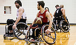The Canadian Paralympic Committee cross country tour, led by Rio Chef de Mission Chantal Petitclerc,  puts on a wheelchair basketball demonstration at Mount Royal University in Calgary, Alberta on January 19, 2016.