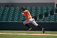 Baltimore Orioles Shayne Fontana (48) rounds first base after hitting a double during a Minor League Spring Training game against the Detroit Tigers on April 14, 2021 at Joker Marchant Stadium in Lakeland, Florida.  (Mike Janes/Four Seam Images)