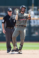 Vanderbilt Commodores first baseman Julian Infante (22) celebrates after hitting a double during Game 3 of the NCAA College World Series against the Louisville Cardinals on June 16, 2019 at TD Ameritrade Park in Omaha, Nebraska. Vanderbilt defeated Louisville 3-1. (Andrew Woolley/Four Seam Images)