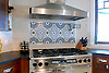 This custom kitchen features a handmade Amulet mosaic backsplash shown in hand-chopped and tumbled Blue Macaubas, Montevideo, Thassos, Chartreuse, Celeste, Travertine White from New Ravenna.<br /> -image courtesy of Mabley Handler Interior Design<br /> <br /> For pricing, samples and design help, please click here: http://www.newravenna.com/showrooms/