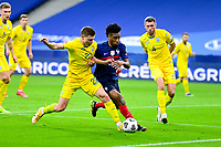 24th March 2021; Stade De France, Saint-Denis, Paris, France. FIFA World Cup 2022 qualification football; France versus Ukraine;  Kingsley Coman (France) tries to go past Mykola Matviyenko (Ukraine)