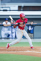 Oscar Mercado (4) of the Johnson City Cardinals at bat against the Burlington Royals at Burlington Athletic Park on July 14, 2014 in Burlington, North Carolina.  The Cardinals defeated the Royals 9-4.  (Brian Westerholt/Four Seam Images)