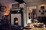 The Village Pub, The Crown, Old Dalby, Leicestershire. Pub food interior, started life in 1690s as a farm. 1990s 1991
