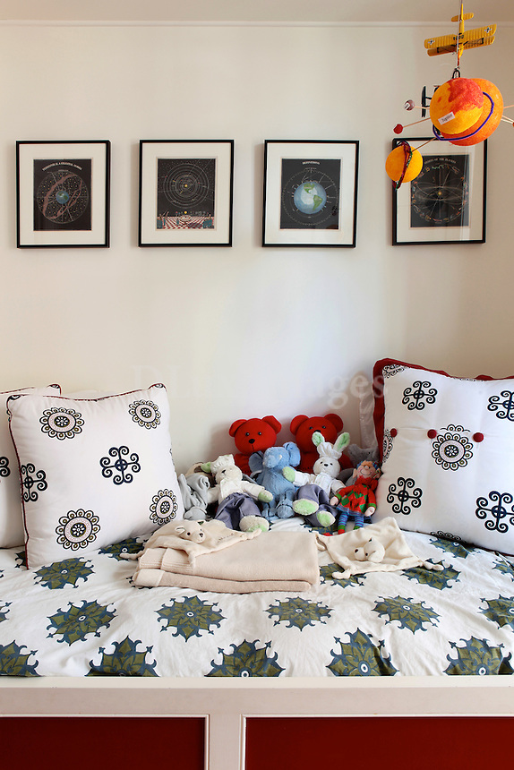 stuffed animals in the bedroom..Interior designer Sara Story's apartment, within an 1850's brownstone, shows her timeless yet whimsical style. Combining 3 apartments she created what is now a multi-level 3.000 square foot home for she and her 3 children.