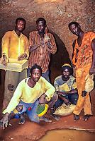 Diamond miners in their Underground Chamber, Tortiya, Ivory Coast.
