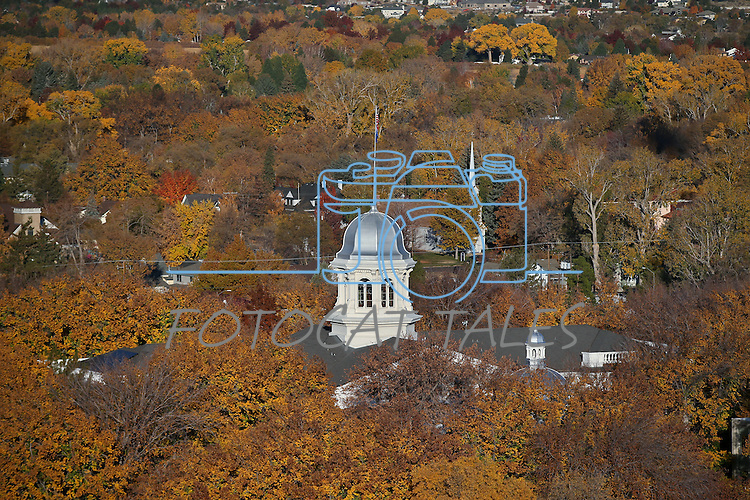 The state Capitol is seen from a hot air balloon above Carson City, Nev., on Saturday, Oct. 26, 2013, as part of the annual Nevada Day celebration.<br /> Photo by Cathleen Allison