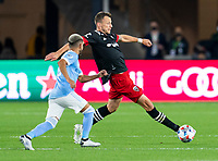 WASHINGTON, DC - APRIL 17: Frederic Brillant #13 of D.C. United defends during a game between New York City FC and D.C. United at Audi Field on April 17, 2021 in Washington, DC.