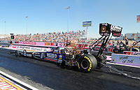 Oct. 29, 2011; Las Vegas, NV, USA: NHRA top fuel dragster driver Antron Brown during qualifying for the Big O Tires Nationals at The Strip at Las Vegas Motor Speedway. Mandatory Credit: Mark J. Rebilas-