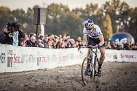 World Champion Wout Van Aert (BEL) ploughing through the sand. <br /> <br /> UEC CYCLO-CROSS EUROPEAN CHAMPIONSHIPS 2018<br /> 's-Hertogenbosch – The Netherlands<br /> Men Elite Race