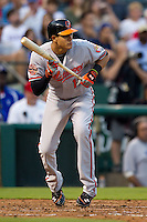 Baltimore Orioles third baseman Manny Machado #13 prepares to bunt during the Major League Baseball game against the Texas Rangers on August 21st, 2012 at the Rangers Ballpark in Arlington, Texas. The Orioles defeated the Rangers 5-3. (Andrew Woolley/Four Seam Images).