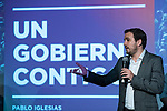 "Alberto Garzon in the act of beginning of the campaign ""Unidas Podemos"" in Madrid. The spokesman of this party in Congress, Irene Montero, and the federal coordinator of IU, Alberto Garzón, intervene in it.<br /> October 31, 2019. <br /> (ALTERPHOTOS/David Jar)"