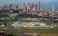 Aerial photograph of the Albrook Mall toward the city skyline with the Albrook Gelabert Airport (MPMG) in the foreground Fotografía aérea del centro comercial Albrook hacia el horizonte de la ciudad con el aeropuerto Albrook Gelabert