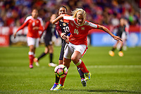 Sandy, UT - October 19, 2016: The USWNT and Switzerland are even 0-0 in second half action during an international friendly game at Rio Tinto Stadium.