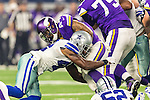 Minnesota Vikings running back Matt Asiata (44) and Dallas Cowboys strong safety Barry Church (42) in action during the pre-season game between the Minnesota Vikings and the Dallas Cowboys at the AT & T stadium in Arlington, Texas. Minnesota defeats the Cowboys 28 to 14.
