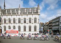 peloton crossing the Kortrijk city center <br /> <br /> Grote Prijs Marcel Kint 2021<br /> One day race from Zwevegem to Kortrijk (196km)<br /> <br /> ©kramon
