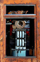 dials and inside structure of old gas pump