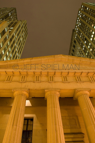 AVAILABLE FROM JEFF AS A FINE ART PRINT.<br /> <br /> AVAILABLE FOR COMMERCIAL AND EDITORIAL LICENSING.  Please go to www.plainpicture.com and search for image # p5690064.<br /> <br /> Upward View of Federal Hall National Memorial, Lower Manhattan's Financial District, New York City, New York State, USA