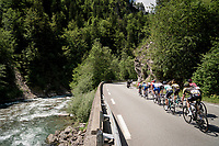 breakaway group rolling through the valley<br /> <br /> Stage 8: Cluses (FRA) to Champéry (SUI)(113km)<br /> 71st Critérium du Dauphiné 2019 (2.UWT)<br /> <br /> ©kramon