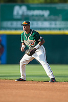 Greensboro Grasshoppers second baseman Rony Cabrera (2) on defense against the Hickory Crawdads at L.P. Frans Stadium on May 6, 2015 in Hickory, North Carolina.  The Crawdads defeated the Grasshoppers 1-0.  (Brian Westerholt/Four Seam Images)