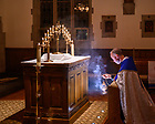 April 7, 2021; Rev. Gerry Olinger, C.S.C. incenses the Eucharist in the monstrance for adoration in the Alumni Hall Chapel. (Photo by Matt Cashore/University of Notre Dame)