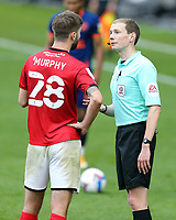 Referee Peter Wright has a word with Crewe Alexandra's Luke Murphy<br /> <br /> Photographer Rich Linley/CameraSport<br /> <br /> The EFL Sky Bet League One - Crewe Alexandra v Blackpool - Saturday 17th October 2020 - Gresty Road - Crewe<br /> <br /> World Copyright © 2020 CameraSport. All rights reserved. 43 Linden Ave. Countesthorpe. Leicester. England. LE8 5PG - Tel: +44 (0) 116 277 4147 - admin@camerasport.com - www.camerasport.com