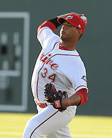 Starting pitcher Luis Diaz (34) of the Greenville Drive prior to a game against the Lakewood BlueClaws on April 6, 2012, at Fluor Field at the West End in Greenville, South Carolina. (Tom Priddy/Four Seam Images)
