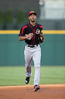 Rochester Red Wings center fielder Byron Buxton (53) jogs off the field between innings of the game against the Charlotte Knights at BB&T BallPark on August 8, 2015 in Charlotte, North Carolina.  The Red Wings defeated the Knights 3-0.  (Brian Westerholt/Four Seam Images)