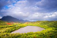 aerial view of Menehune Fishpond, or Alekoko Fishpond, with Mount Haupu in the distance, Lihue, Kauai, Hawaii, USA