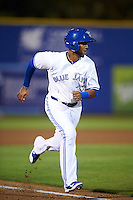 Dunedin Blue Jays shortstop Richard Urena (5) scores a run during a game against the Palm Beach Cardinals on April 15, 2016 at Florida Auto Exchange Stadium in Dunedin, Florida.  Dunedin defeated Palm Beach 8-7.  (Mike Janes/Four Seam Images)