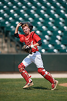 Catcher Max Malley (19) during the Dominican Prospect League Elite Underclass International Series, powered by Baseball Factory, on August 1, 2017 at Silver Cross Field in Joliet, Illinois.  (Mike Janes/Four Seam Images)