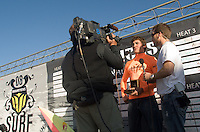 Winner Greg Long does an interview following the awards ceremony at the 2008 Mavericks Surf Contest in Half Moon Bay, Calif., Saturday, January 12, 2008...Photo by David Calvert/isiphotos.com