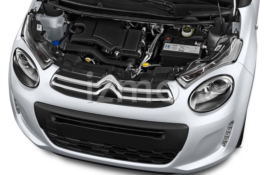 Car Stock 2015 Citroen C1 Airscape-Feel-Edition 3 Door Micro Car Engine  high angle detail view