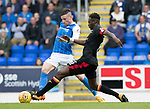 St Johnstone v Partick Thistle…19.08.17… McDiarmid Park… SPFL<br />Michael O'Halloran nips the ball ahead of Abdul Osman<br />Picture by Graeme Hart.<br />Copyright Perthshire Picture Agency<br />Tel: 01738 623350  Mobile: 07990 594431