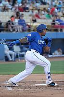 Dominic Smith (22) of the Las Vegas 51s bats against the Sacramento River Cats at Cashman Field on June 15, 2017 in Las Vegas, Nevada. Las Vegas defeated Sacramento, 12-4. (Larry Goren/Four Seam Images)