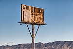 Rusting, abandoned gas station price signs along the frontage, I-80, Trinity, Nev., at the edge of the Fortymile Desert.